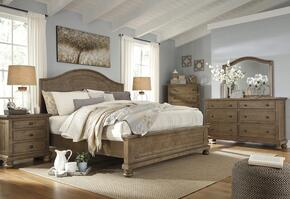 Goodwin Collection California King Bedroom Set with Panel Bed, Dresser, Mirror and Nightstand in Light Brown