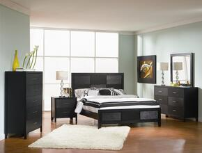 Grove Collection 201651Q5SET 5 PC Bedroom Set with Queen Size Platform Bed + Dresser + Mirror + Chest + Nightstand in Black Finish