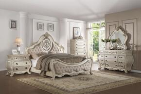 Ragenardus Collection 27007EKSET 5 PC Bedroom Set with King Size Bed + Dresser + Mirror + Chest + Nightstand in Antique White Finish