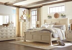 Bolanburg Queen Bedroom Set with Louvered Panel Bed, Dresser, Mirror, Nightstand and Chest in Antique White