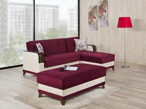 ALMSECOTTGB Almira Sectional Sleeper Sofa and Ottoman with Matching Pillows, Tufted Detailing, Tapered Legs and Upholstered in Golf Burgundy