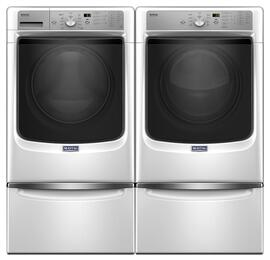 "White Front Load Laundry Pair with MHW5500FW 27"" Washer, MGD5500FW 27"" Gas Dryer and 2 XHPC155XW Pedestals"