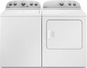 "White Top Load Laundry Pair with WTW4816FW 28"" Washer and WGD4815EW 30"" Gas Dryer"