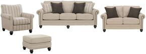 Elisabeth Collection MI-4861SLACO-LINE 4-Piece Living Room Set with Sofa, Loveseat, Accent Chair and Ottoman in Linen and Maple