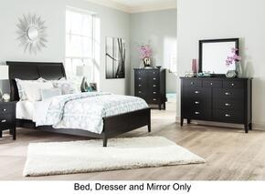 Braflin Queen Bedroom Set with Panel Bed, Mirror, and Dresser in Black