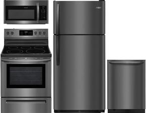 "4-Piece Kitchen Package With FFTR1821TD 30"" Top Freezer Refrigerator, FFEF3054TD 30"" Electric Range, FFMV1645TD 30"" Over-the-Range Microwave and FFBD2406ND 24"" Built-In Full Console Dishwasher in Black Stainless Steel"