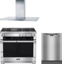 "3-Piece Stainless Steel Kitchen Package with HR1956DFGD 48"" Freestanding Dual Fuel Range, DA424V 48"" Mount Ducted Hood, and G6625UCLST 24"" Full Console Dishwasher"