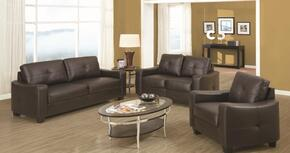 Jasmine 502731SET 3 PC Living Room Set with Sofa + Loveseat + Chair in Dark Brown Color