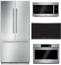 "4-Piece Stainless Steel Kitchen Package with B36BT830NS 36"" French Door Refrigerator, HCG56651UC 36"" Wall Mount Hood, HBLP451UC 30"" Single Wall Oven, and HMVP053U 30"" Over the Range Microwave"