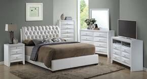 G1570CTBUPSET 6 PC Bedroom Set with Twin Size Bed + Dresser + Mirror + Chest + Nightstand + Media Chest in White Color