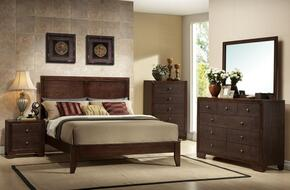 19570QDMCN Madison Queen Size Panel Bed + Dresser + Mirror + Chest + Nightstand in Espresso Finish