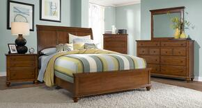 Hayden Place Collection 6 Piece Bedroom Set With Queen Size Sleigh Bed + 2 Nightstands + Dresser + Drawer Chest + Mirror: Light Cherry