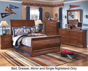 Wilmington Full Bedroom Set with Sleigh Bed, Dresser, Mirror and Nightstand in Reddish Brown