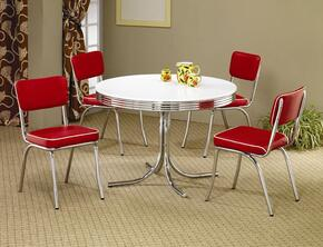 2388SETRED Cleveland Dining 5 PC Set (Table and 4 Side Chairs)in Red