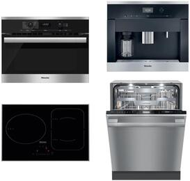 "4-Piece Kitchen Package with H6100BM 24"" Speed Oven, KM6320 24"" Electric Smoothtop Style Cooktop, G6875SCVISF 24"" Built In Fully Integrated Dishwasher, and CVA6401 24"" Built-In Coffee System in Stainless Steel"