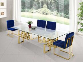 Pierre Collection MER5PCRECDH4BLUKIT4 5-Piece Dining Room Sets with Rectangular Dining Table, and 4x Blue Dining Chairs in Gold