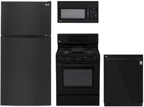 "4-Piece Kitchen Package with LTCS24223B 33"" Top Freezer Refrigerator, LRG3193SB 30"" Freestanding Gas Range, LMV1762SB 30"" Over the Range Microwave, and LDP6797BB 24"" Built In Fully Integrated Dishwasher in Black"