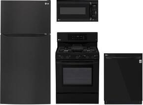 "4-Piece Kitchen Package with LTCS24223B 33"" Top Freezer Refrigerator, LRG3193SB 30"" Freestanding Gas Range, LMV2031SB 30"" Over the Range Microwave, and LDP6797BB 24"" Built In Fully Integrated Dishwasher in Black"