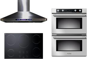 "3-Piece Stainless Steel Kitchen Package with VECTI365 36"" Induction Smoothtop, VEBIEM3030DSS 30"" Electric Double Wall Oven, and VEHOOD36CH 36"" Wall Mount Ducted Hood"