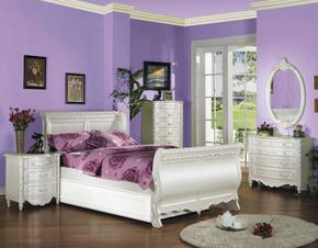 Pearl 01005FTNCDHU 7 PC Bedroom Set with Full Size Bed + Trundle + Nightstand + Lingerie Chest + Desk + Hutch + Chair in Pearl White Finish