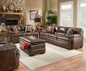 Devin 52310SLCO 4 PC Living Room Set with Sofa + Loveseat + Chair + Storage Ottoman in Editor Brown Color
