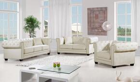 Bowery Collection 739510 3-Piece Living Room Sets with Stationary Sofa, Loveseat and Living Room Chair in Cream