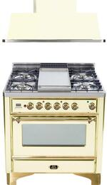 "2-Piece Antique White Kitchen Package with UM90FDMPA 36"" Freestanding Dual Fuel Range (Brass Trim, 4 Burners, Griddle) and UAM90A 36"" Wall Mount Range Hood"
