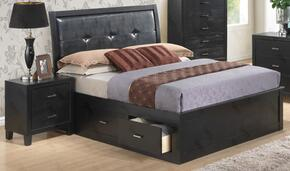 G1250BKSBN 2 Piece Set including King Size Storage Bed and Nightstand  in Black