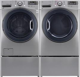"Graphite Steel Front Load Laundry Pair with WM3770HVA 27"" Washer, DLGX3571V 27"" Gas Dryer, and WDP4V Pedestals"