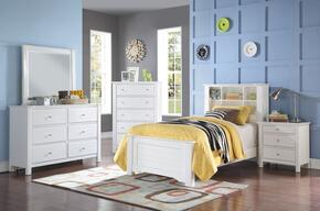 Mallowsea 30405F5PC Bedroom Set with Full Size Bed + Dresser + Mirror + Chest + Nightstand in White Color