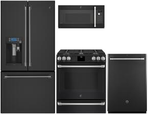 "4-Piece Black Slate Kitchen Package with CFE28UELDS 36"" French Door Refrigerator, CGS986EELDS 30"" Slide In Dual Fuel Range, CVM9179ELDS 30"" Countertop Microwave, and CDT865SMJDS 24"" Fully Integrated Dishwasher"