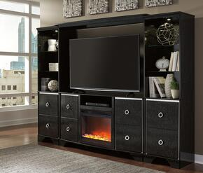 Amrothi Collection W257ENTSETF02 5-Piece Entertainment Center with TV Stand, W100-02 Fireplace Insert, Bridge and 2 Piers in Black