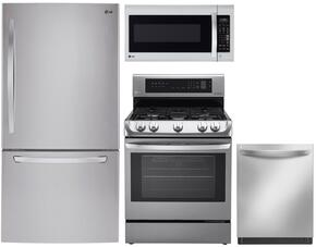 "4 Piece Kitchen Package With LRG4113ST 30"" Gas Freestanding Range, LMV2031ST Over the Range Microwave Oven, LDCS24223S 33"" French Door Refrigerator and LDF8874ST 24"" Built In Dishwasher In stainless Steel"