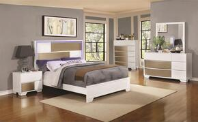 Havering Collection 204741KE Eastern King Bed, Night Stand, Dresser and Mirror in Blanco & Sterling Finish