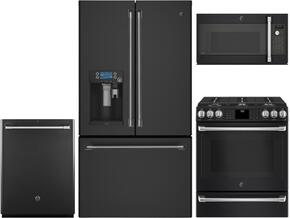 "4-Piece Black Slate Kitchen Package with CFE28UELDS 36"" French Door Refrigerator, C2S986EELDS 30"" Slide In Dual Fuel Range, CVM9179ELDS 30"" Countertop Microwave, and CDT865SMJDS 24"" Fully Integrated Dishwasher"