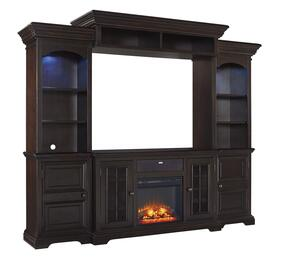 Willenburg Collection W643ENTF01A31 6-Piece Entertainment Center with Large TV Stand, W100-01 Electric Fireplace Insert, W100-31 Audio Insert, Left Pier, Right Pier and Bridge in Dark Brown