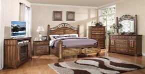 ZBCL700Q6PC Barclay 6 PC Bedroom Set with Bed + Dresser + Mirror + Chest + Nightstand + Fireplace Media Center in Rustic Acacia