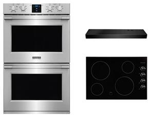"3-Piece Kitchen Package With FFEC3024LB 31"" Electric Cooktop, FPET3077RF 30"" Electric Double Wall Oven and FHWC3025MB 30"" Under Cabinet Convertible Hood in Stainless Steel"