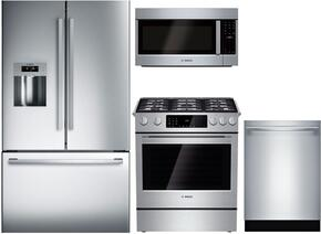 "4 Piece Kitchen package With HDI8054U 30"" Gas Range, HMD8053UC Over The Range Microwave, B26FT80SNS 36"" French Door Refrigerator and SHX53T55UC 24"" Built In Dishwasher In Stainless Steel"