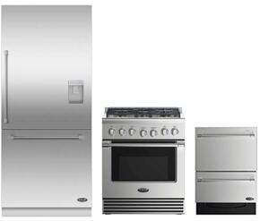"3 Piece Stainless Steel Kitchen Package With RDV2305L 3O"" Gas Freestanding Range, RS36W80RUC1 36"" Built In Refrigerator and DD24DV2T7 24"" Drawers Dishwasher"