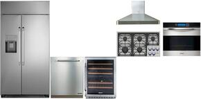"Dacor 6 Piece Kitchen Package With DYCT365GWNGH 36"" Gas Cooktop, DYF42BSIWS 42"" Refrigerator, RNO230S 30"" Wall Oven, RNF242WCL 24"" Wine Cooler, DHW361 36"" Range Hood, RDW24S 24"" Built-In Dishwasher and ARDWP24H Pro Handle"