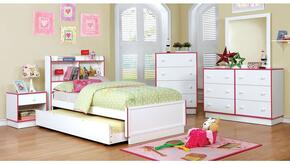 Bobbi Collection CM7852PKFBDMCN 5-Piece Bedroom Set with Full Bed, Dresser, Mirror, Chest, and Nightstand in Pink and White Finish