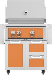 "30"" Freestanding Liquid Propane Grill with GCR30OR Tower Grill Cart with Double Drawer and Door Combo, in Citra Orange"