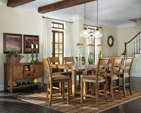 Regine Collection 10-Piece Dining Room Set with Dining Room Counter Table, 8 Barstools and Server in Light Brown