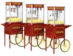 1104210 Theater Pop Poppers 4-Oz. Popcorn Machine with Built-In Warming Deck in Theater Red Finish and Popcorn Cart