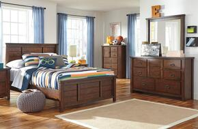 Ladiville Twin Bedroom Set with Panel Bed, Dresser, Mirror and Chest in Rustic Brown