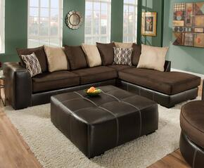 75E3486167SMO Hughe Two Piece Sectional with Sofa + Chaise, Ottoman, Toss Pillows, 1.5 Dacron Wrapped Foam Core, Reversible Cushions, Hardwood/Plywood Frame and Fabric Upholstery in Coffee