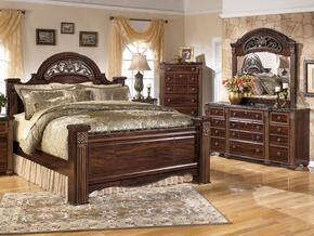 Gabriela Queen Bedrrom Set with Poster Bed, Dresser, Mirror and Chest in Dark Reddish Brown