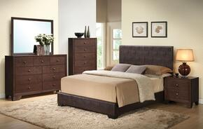 Ireland III Collection 14370QDMCN 5 PC Bedroom Set with Queen Size Bed + Dresser + Mirror + Chest + Nightstand in Brown Color