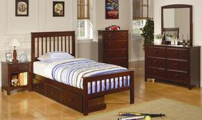 400290TSET4 Parker 4 Pc Twin Size Bedroom Set in Deep Cappuccino Finish (Bed, Nightstand, Dresser, and Mirror)